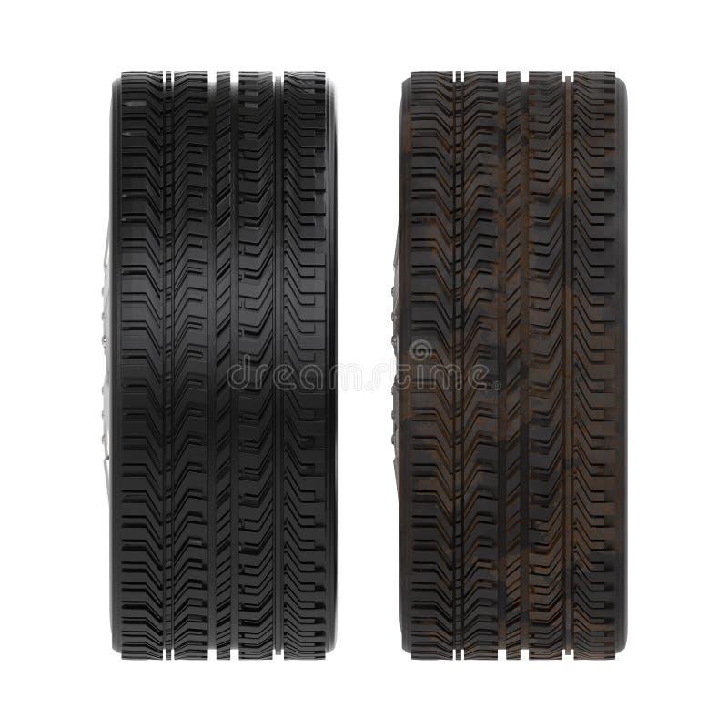 新的轮胎和使用的轮胎 免版税库存照片