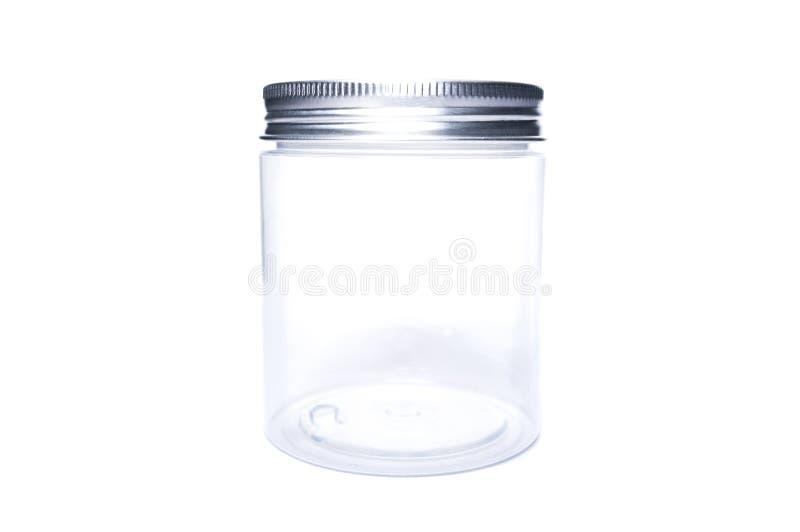 新的透明塑料瓶子或接收者有铝盖帽的 免版税图库摄影