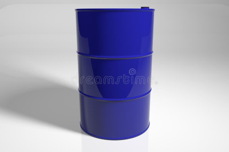 新的金属蓝色桶 3d回报 向量例证