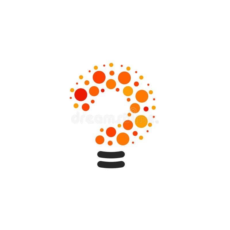 新的问号标志,平的明亮的动画片电灯泡 白色和橙色颜色标志 五颜六色风格化传染媒介的电灯泡 库存例证