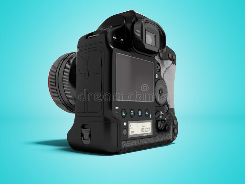 新的黑专业照片照相机背面图3d回报在与阴影的蓝色背景 向量例证