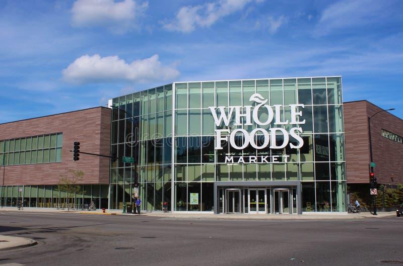 新的整个食品店门面在芝加哥,美国 库存图片