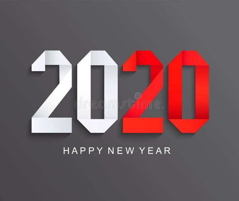 新的2020年纸贺卡,黑暗的背景 库存例证
