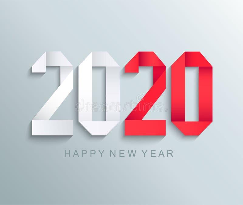 新的2020年纸贺卡 皇族释放例证