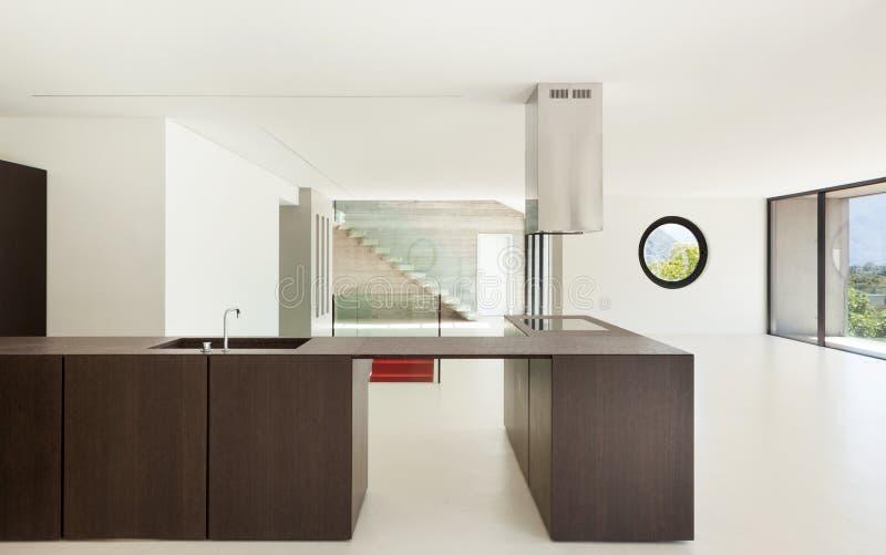 新的建筑学,现代厨房 免版税库存图片