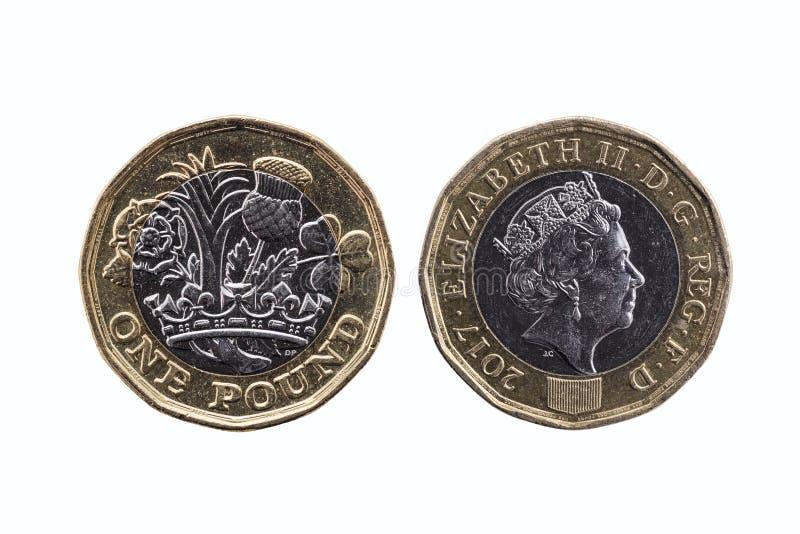 新的1英镑硬币 库存图片