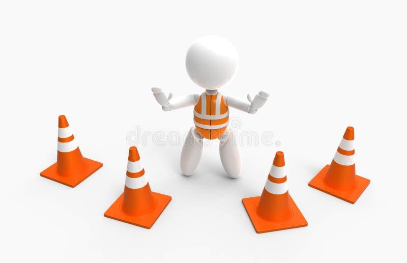 新的3D人民-交易锥体和安全背心 库存例证