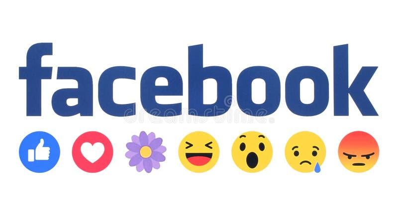 新的Facebook喜欢与花的按钮移情作用的Emoji反应 向量例证