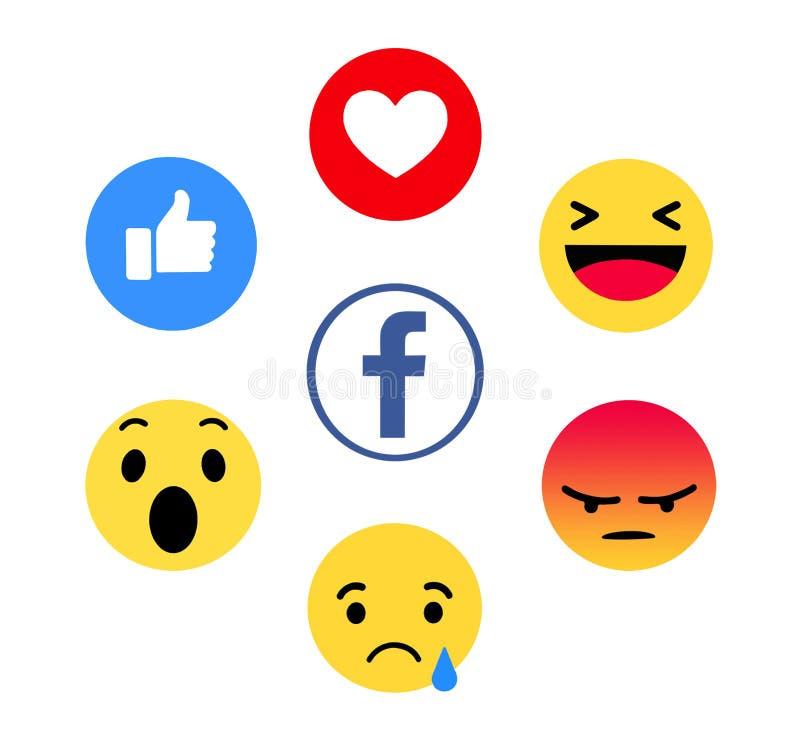新的Facebook喜欢按钮6移情作用的Emoji 免版税库存照片