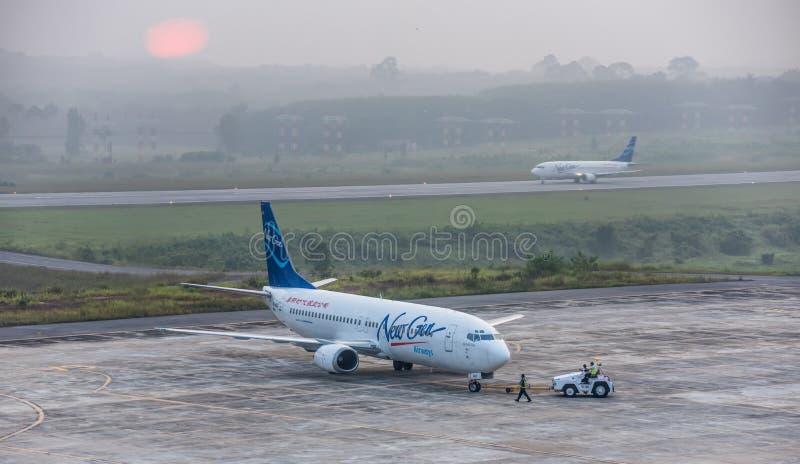 新的gen航空公司在阴霾离开在krabi机场 免版税图库摄影