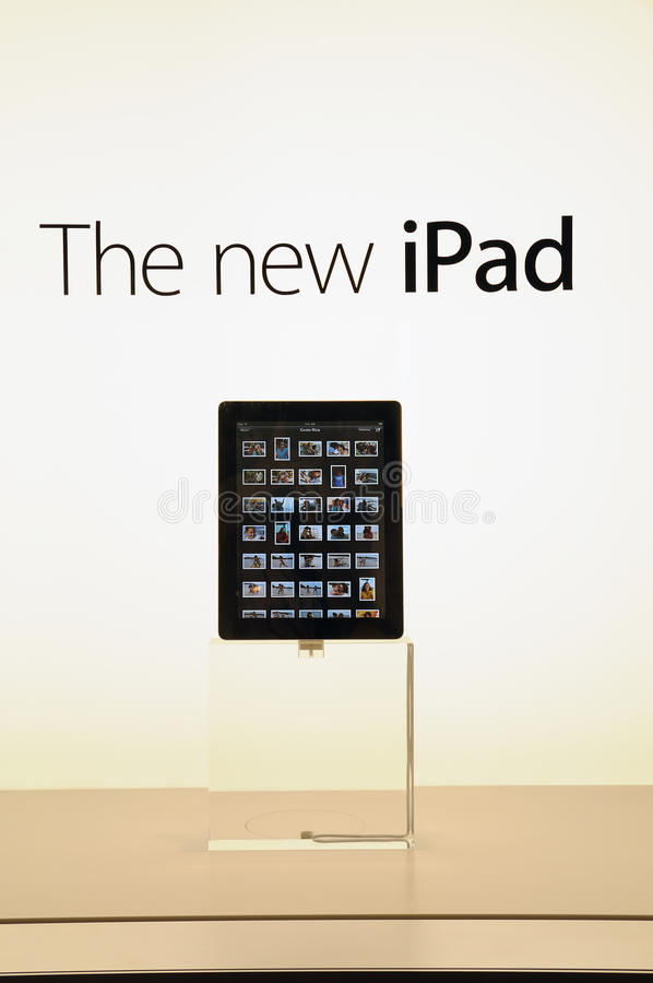 新的iPad的视窗显示 免版税库存图片