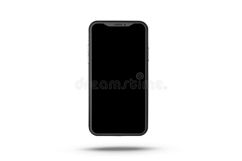 新的smartphone 背景查出的电话白色 有触摸屏幕的手机 黑现代现实电话 大模型 向量例证