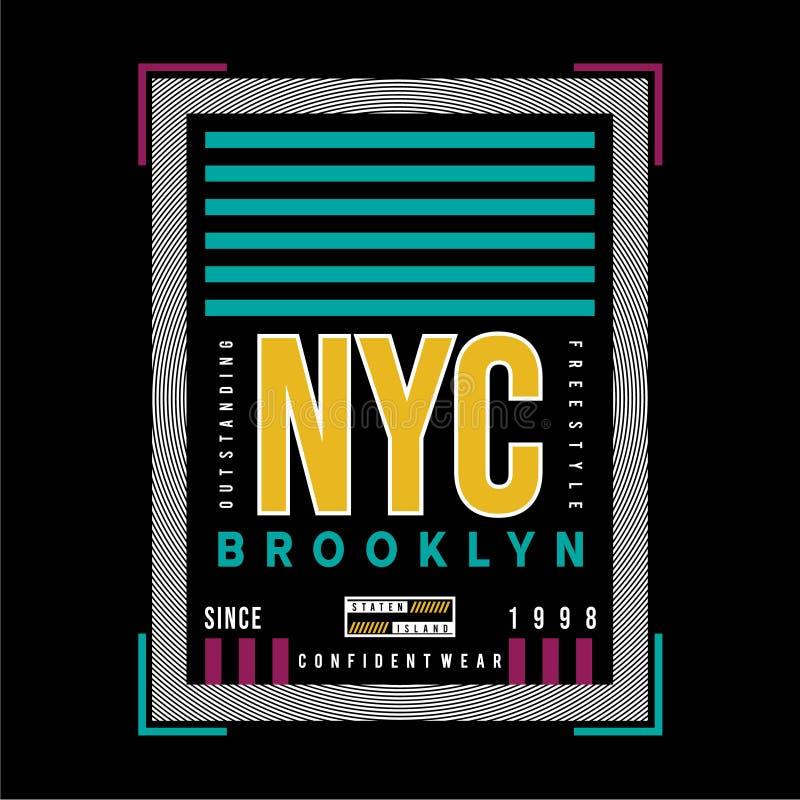 新的yok城市布鲁克林图表印刷术T恤杉 向量例证