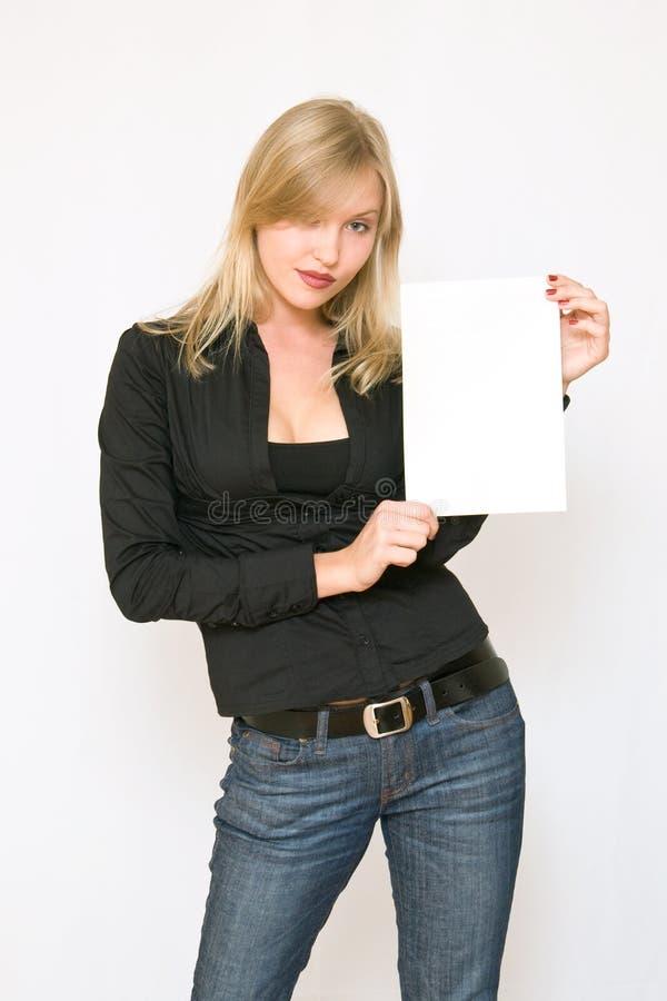 新空白藏品纸张的妇女 免版税库存照片
