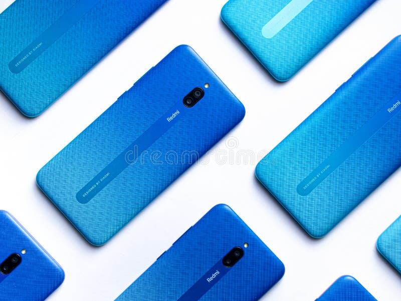 新红米8a双耳手机库存图像 2020年2月26日星期三,印度阿萨姆 免版税库存图片