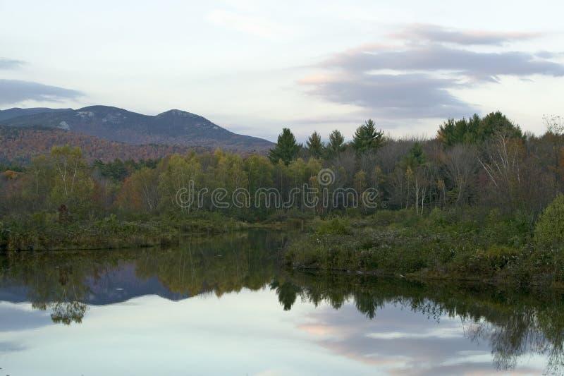 新罕布什尔,新英格兰白色山的秋天池塘  库存图片