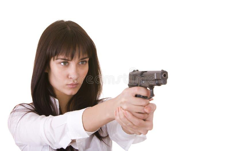 新美丽的枪的妇女 免版税图库摄影