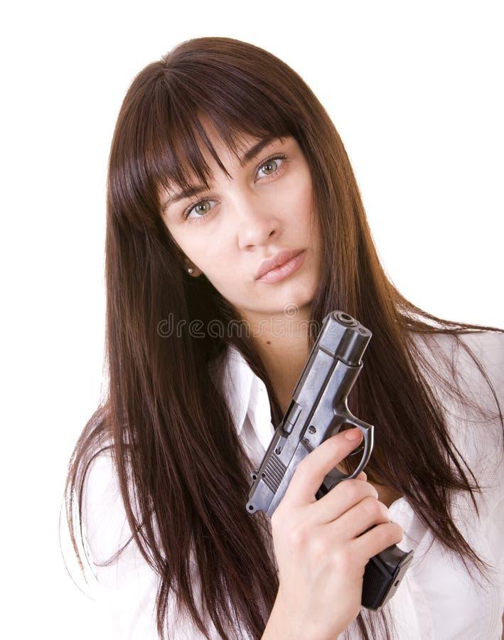 新美丽的枪的妇女 免版税库存照片