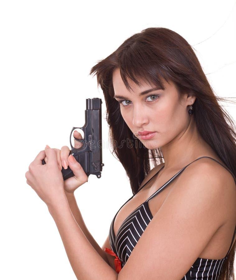 新美丽的枪的妇女 免版税库存图片