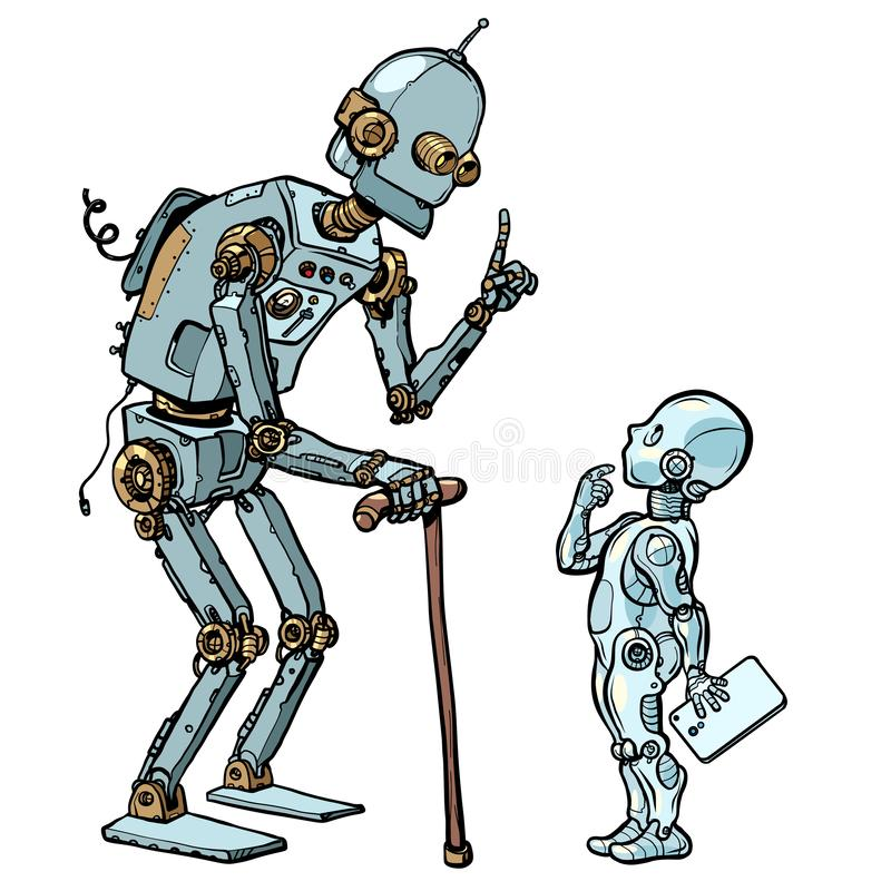 新老机器人 库存例证