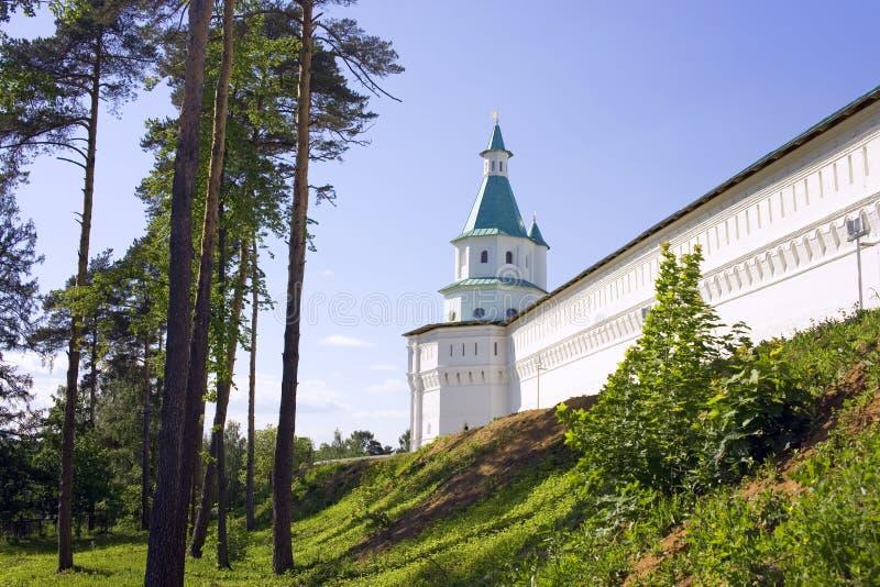 新耶路撒冷修道院城楼加强了正教圣地墙壁  免版税库存照片