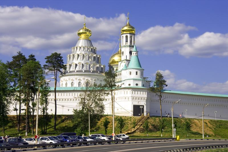 新耶路撒冷修道院城楼加强了正教圣地墙壁  库存照片