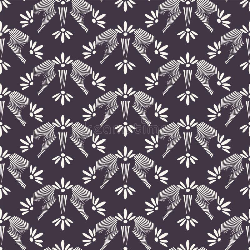 新艺术主义装饰花主题Jugenstil样式 r 减速火箭的花卉锦缎纺织品样片 装饰艺术 库存例证