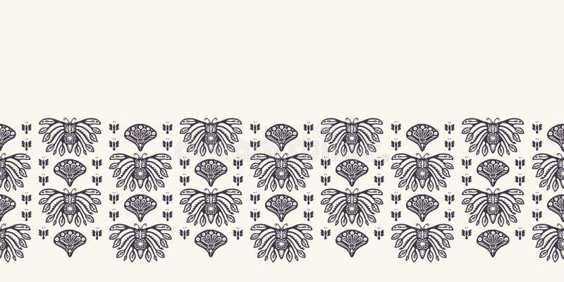 新艺术主义装饰蝴蝶主题边界 Jugendstil样式 蔓藤花纹锦缎纺织品丝带修剪 民间装饰艺术的工艺 向量例证