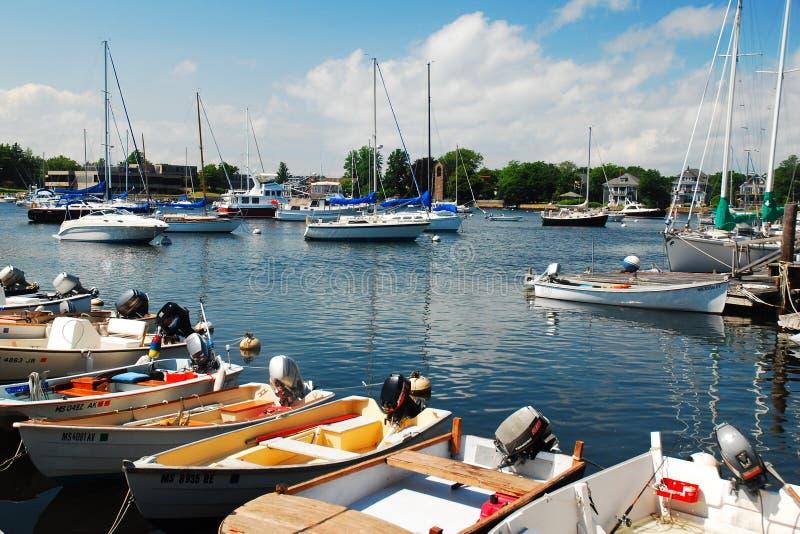 新英格兰小游艇船坞 免版税库存图片