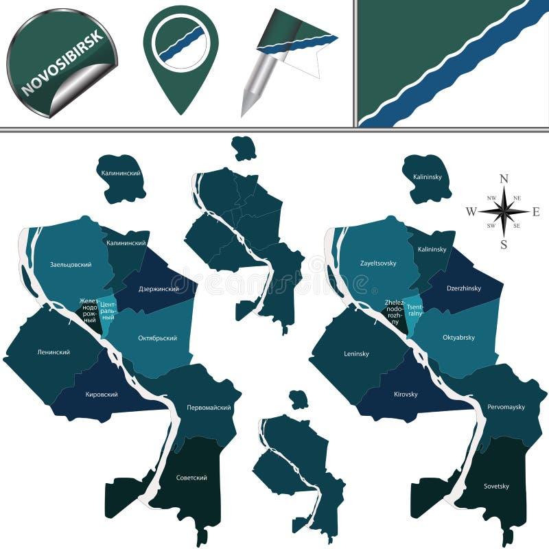 新西伯利亚地图有区的 库存照片