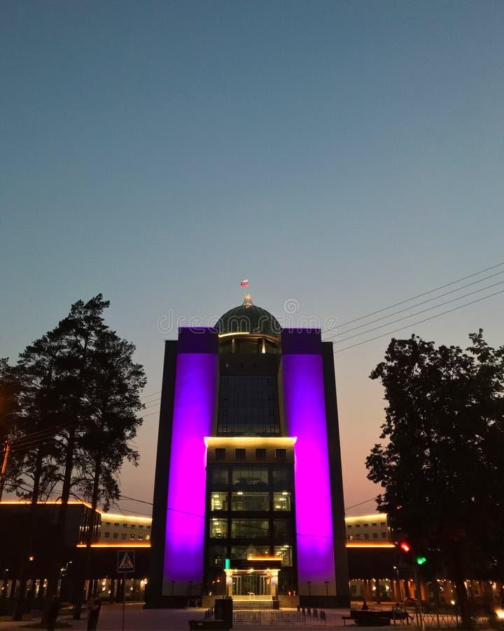 新西伯利亚州立大学紫色突出 库存照片