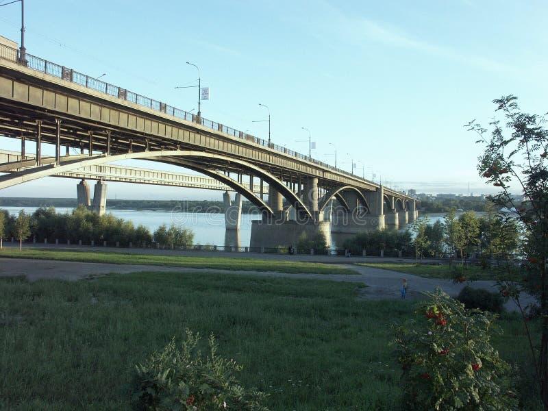 新西伯利亚桥梁  库存照片