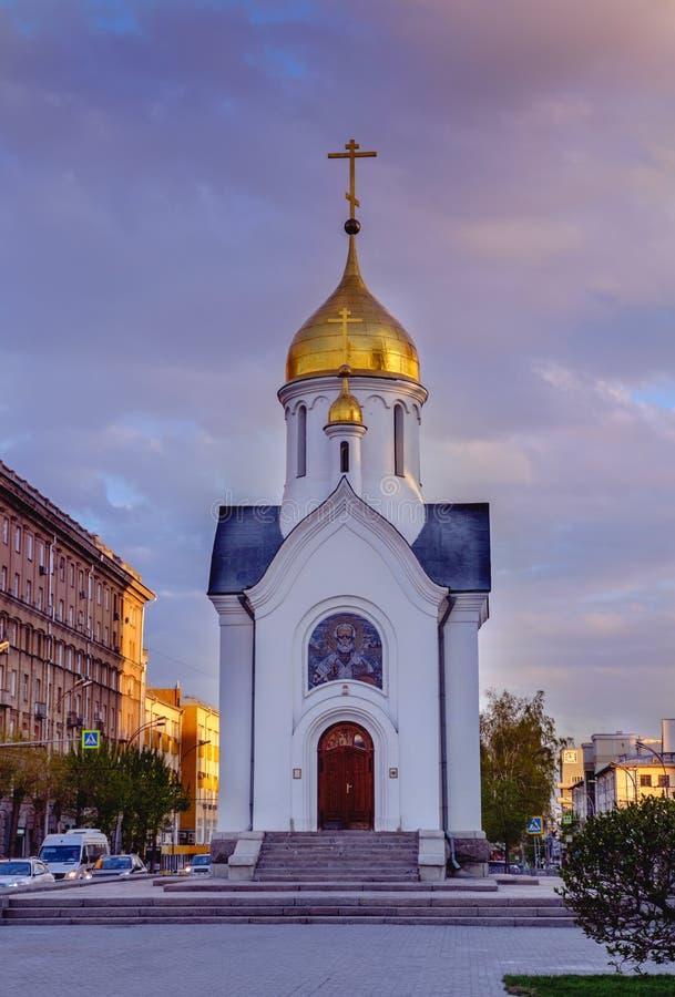 新西伯利亚,俄罗斯,2019年5月16日:圣尼古拉斯,西伯利亚小的教堂  库存图片