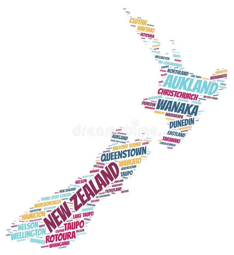 新西兰上面旅行目的地词云彩 库存图片