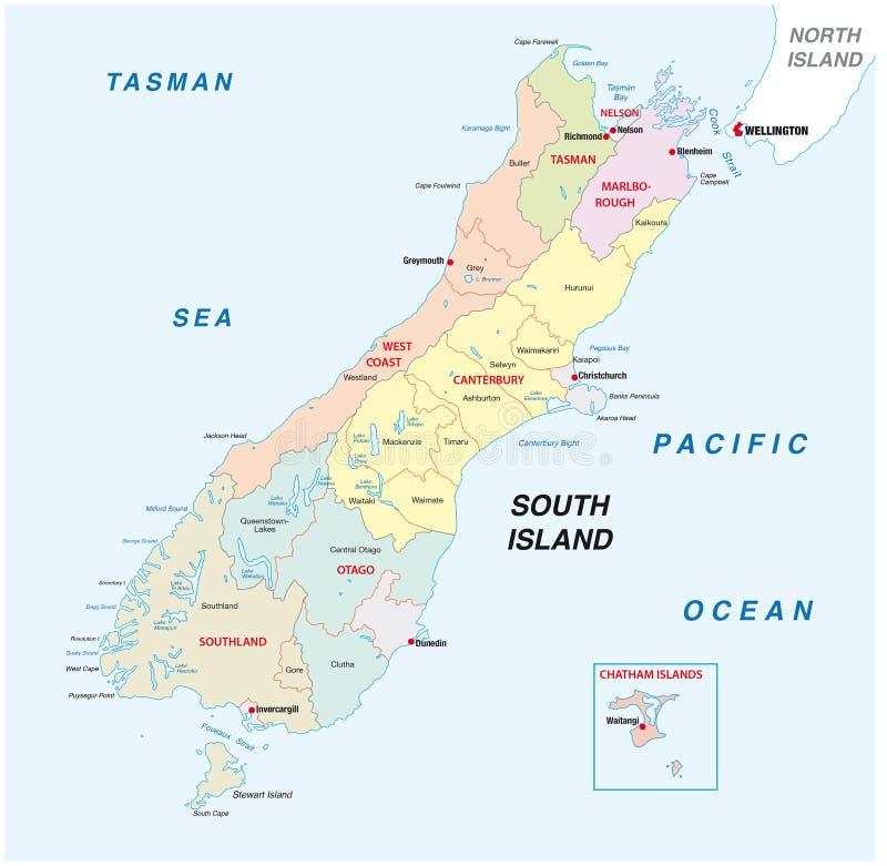 新西兰南岛行政和政治地图 皇族释放例证