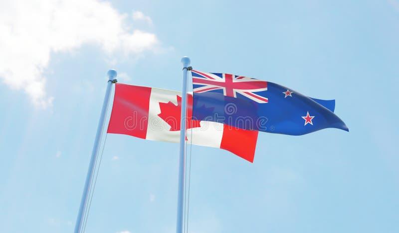 新西兰和加拿大,挥动反对蓝天的旗子 向量例证