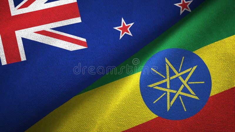 新西兰和埃塞俄比亚两旗子纺织品布料,织品纹理 库存例证