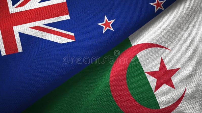 新西兰和阿尔及利亚两旗子纺织品布料,织品纹理 皇族释放例证