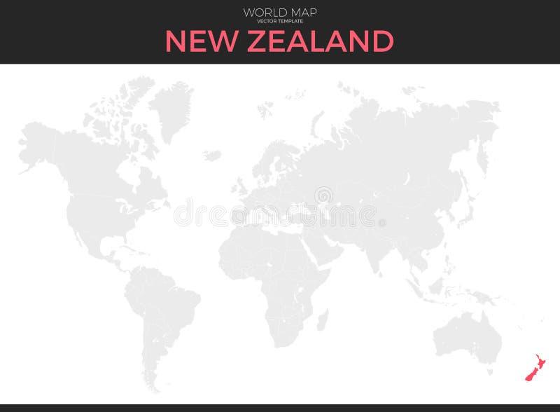 新西兰定位图 库存例证