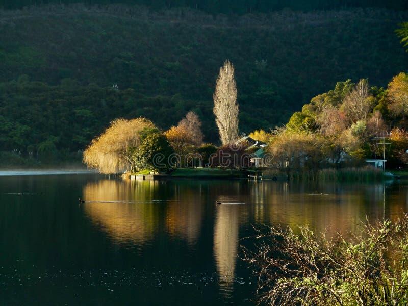 新西兰家的黄昏和湖反射 库存照片