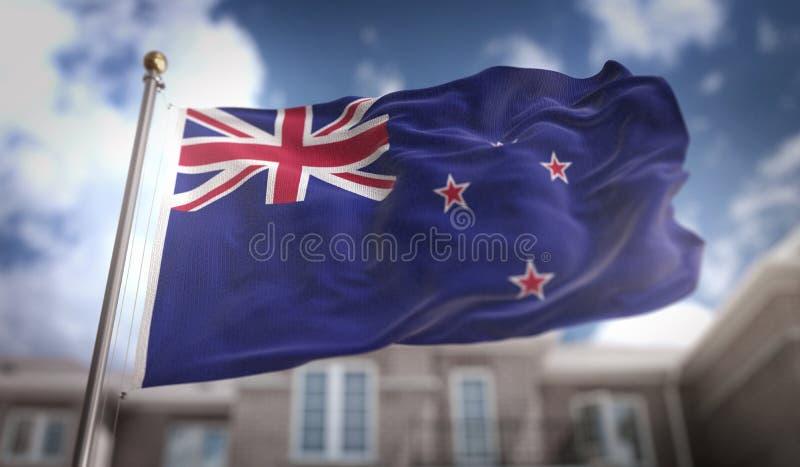 新西兰旗子在修造Backgrou的蓝天的旗子3D翻译 免版税图库摄影