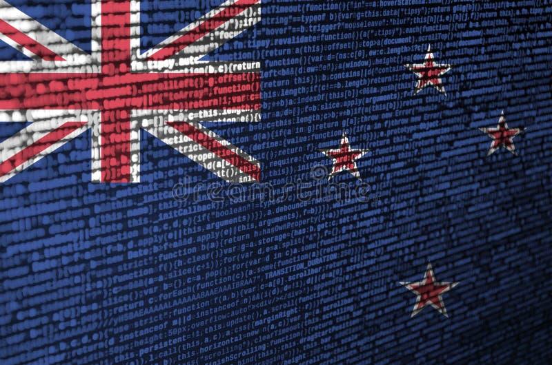 新西兰旗子在有节目代码的屏幕上被描述 现代技术和地点发展的概念 向量例证