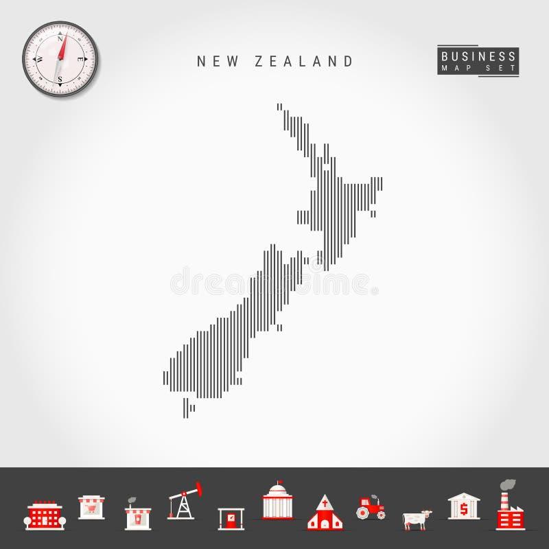 新西兰的传染媒介垂直线地图 新西兰的镶边剪影 现实指南针 r 皇族释放例证