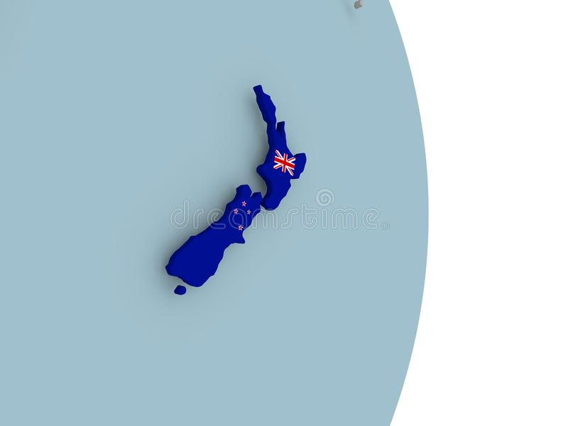 新西兰的地图政治地球的与旗子 皇族释放例证