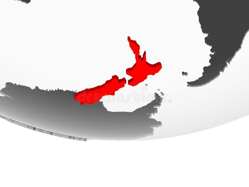 新西兰的地图灰色政治地球的 皇族释放例证