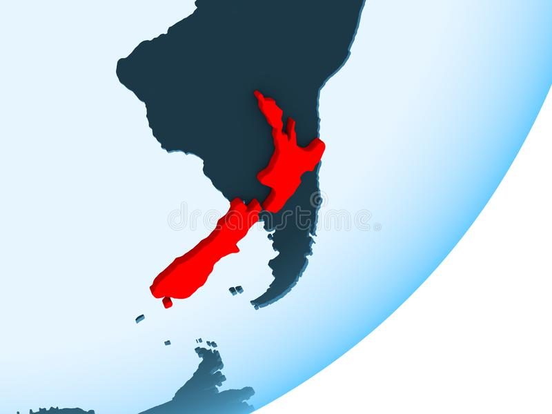 新西兰的地图蓝色政治地球的 向量例证