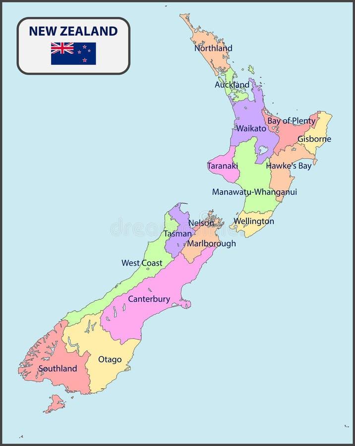 新西兰的政治地图有名字的 库存例证