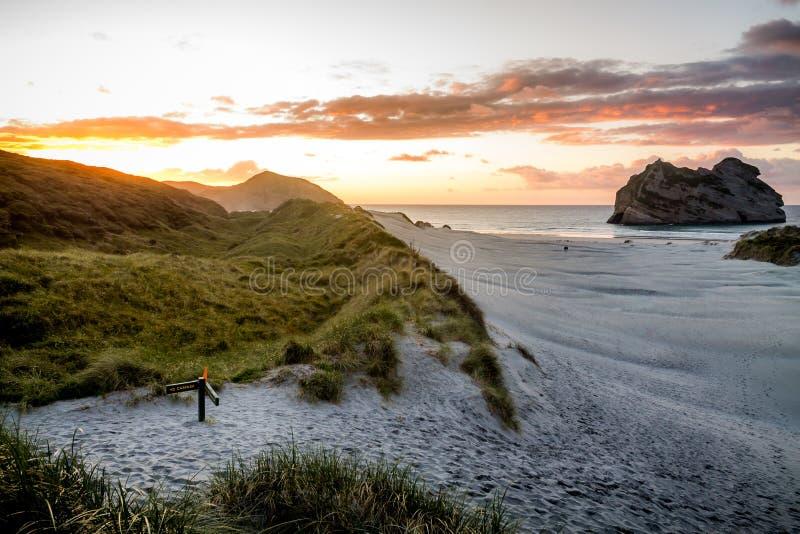 新西兰金黄海湾日落 免版税库存图片