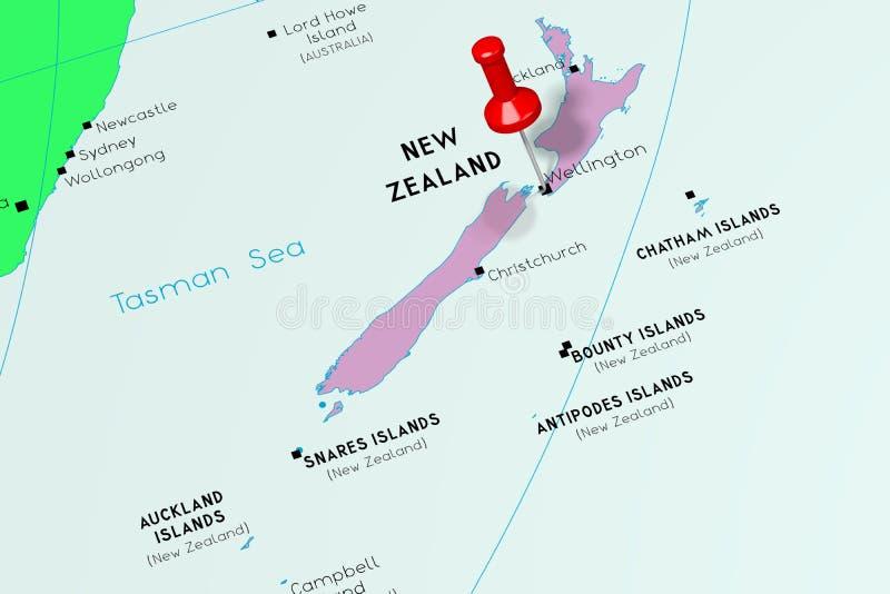 新西兰,惠灵顿-首都,别住在政治地图 皇族释放例证