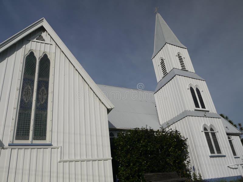 新西兰:Akaroa历史的19世纪教会 免版税库存照片